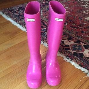 Hunter Women's original Tall Gloss Pink Rain boot